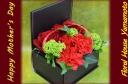 赤のカーネーションとバラのボックスアレンジ♪