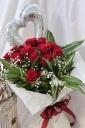1ダースの赤バラ&ハートバルーン