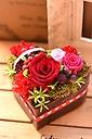真っ赤なバラとカーネーションのプリザアレンジ