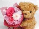 ○●東花園●○ ベアのプリザブーケ:ピンク【M】