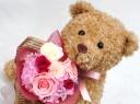 ○●東花園●○ ベアのプリザブーケ:ピンク【L】