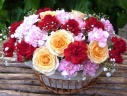 ○●東花園●○バラとMixカーネーションのアレンジ