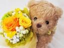 可愛いクマのプリザブーケ♪ハッピーオレンジ
