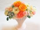 バラたっぷり!華やかプリザアレンジ♪オレンジピンク