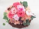 ○●東花園●○幸せの小鳥♪巣ごもりプリザ【ピンク】