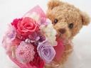 【数量限定】可愛い!クマのプリザブーケ♪《ピンク》