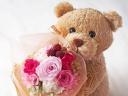 ○●東花園●○大きなベアのローズブーケ♪ピンク