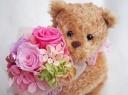 ○●東花園●○可愛いベアのローズブーケ♪ピンク