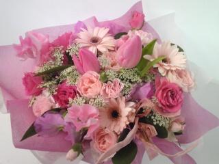 《ピンク色の春の花を…》
