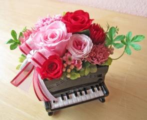 ピアノ♪♪華やかピンク・レッド系プリザ