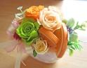 オレンジ系のバラとオレンジスライス♪