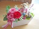可愛いクマさんと人気のピンク・レッド系プリザ♪