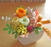 可愛いウサギさんとオレンジ・イエロープリザ♪
