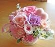 優しいパステル系のお花とピンクのハート♪