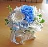 シルバー花器にブルー・ホワイトの爽やかプリザ♪