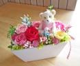 可愛らしいクマさんと人気のピンク・レッド系プリザ
