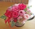 鮮やかピンクのお花を手付きブリキカップに♪
