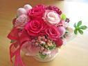 鮮やかピンク系のバラとピンクのハート♪