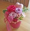 ピンク~パープルのお花とピンクのハート♪