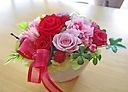 バラとカーネーションのピンク・レッド系プリザ♪