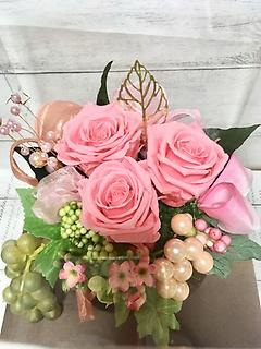 パールとたっぷりリボンのローズポッド☆優しいピンク