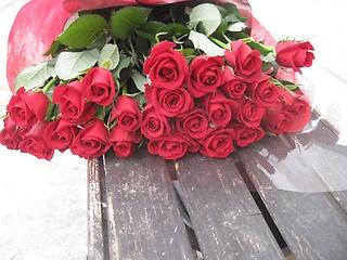 情熱の赤いバラ25本