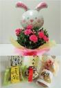 バルーン・ウサギ(ピンク)&和菓子セット