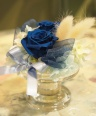ブルーのミニアレンジメント(ガラスコンポート)