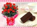 カーネーション鉢&濃厚チョコレートケーキ(レッド)