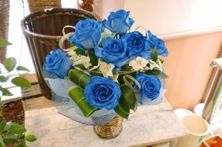 ★青バラ 花言葉 神の祝福★ブルーアレンジ花