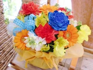 ★青バラ 花言葉 神の祝福★オレンジ系アレンジ花