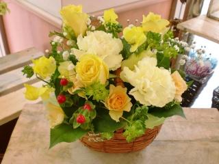 ★黄色 爽やか★バスケット アレンジ花