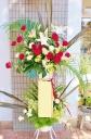 ★赤系 リボン付き★おまかせ 2段スタンド花