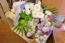 ★白+紫色 仕上げ★御供 花おまかせ 花束
