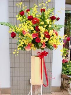 ★赤系花 リボン付き★おまかせ 1段スタンド花
