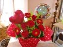 ★バルーンフラワー母の日★赤カーネ・サンキュー盛花