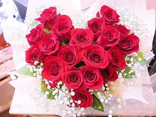 ★花言葉 愛情 赤バラ★大きいハート型アレンジ花