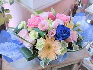 ★青バラ 花言葉 神の祝福★パステル系おまかせ盛花