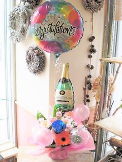 ★バルーンフラワー シャンパン★青バラ入り+ピンク系おまかせ花