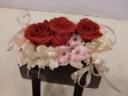 母の日に!!赤バラをメインにバック型のプリザ!