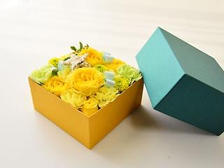 みどり色BOXアレンジメント【イエロー】