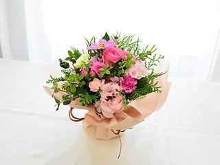 ラッピングのまま飾れる花束【ピンク】