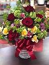 アレンジメント*赤いバラと赤いリボンで…