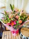 花束「ピンクのユリとバラで華やかに」