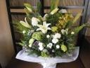 白とグリーンのお供え花