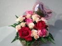 【ハート型バルーンピック付】赤とピンクのバラ畑!