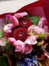 赤ピンクのブーケタイプの花束