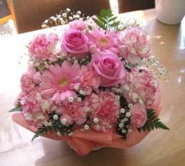 **やさしいピンクのアレンジメント*ありがとう**