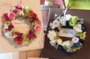 プリザーブと造花のメッセージリース