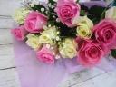 【バラとカスミ草の花束】PINK&WHITE